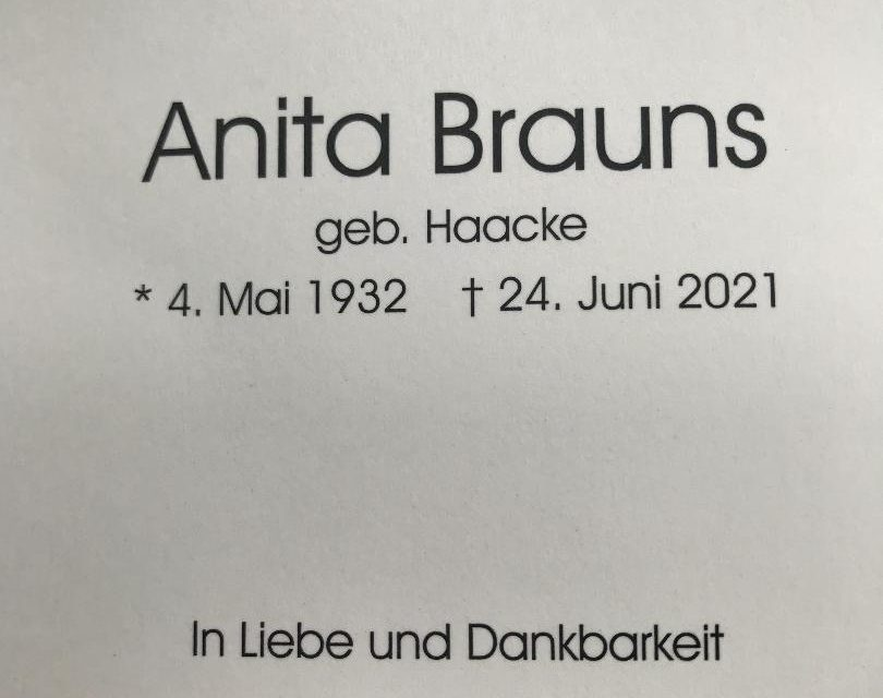 Nachruf Anita Brauns (geb. Haacke)